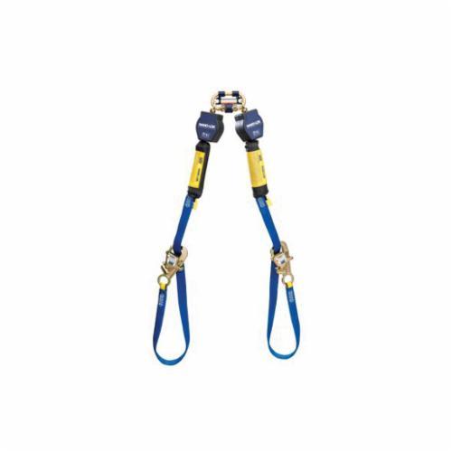 3M DBI-SALA Fall Protection Nano-Lok™ 3101374 Quick-Connect Self-Retracting Twin Leg Lifeline With Tie-Back Self-Locking Hook, 420 lb Load Capacity, 9 ft L, Specifications Met: OSHA 1926.502