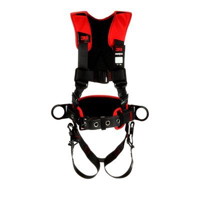 3M Protecta Fall Protection 1161207 Positioning Harness, XL, 420 lb Load, Polyester Strap, Tongue Leg Strap Buckle, Pass-Thru Chest Strap Buckle, Steel Hardware, Black