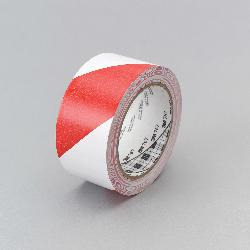 3M™ 021200-43186 767 Single Sided Hazard Warning Tape, 36 yd L x 2 in W, Red/White, Rubber Adhesive/Vinyl Backing