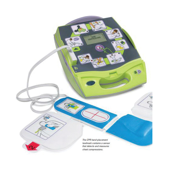 ZOLL® AED® 8000-004003-01 Defibrillator, Semi-Automatic Operation, Adult (120J/150J/200J)/Pediatric (50J/70J/85J), 10 sec Charging, 33-1/2 in L Cable