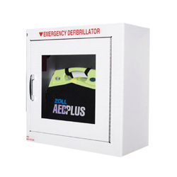 ZOLL® AED Plus® 8000-0855 Standard Wall Mount Defibrillator Storage Cabinet With ZOLL Logo, 17-1/2 in L x 17-1/2 in W x 9 in H, Metal, White