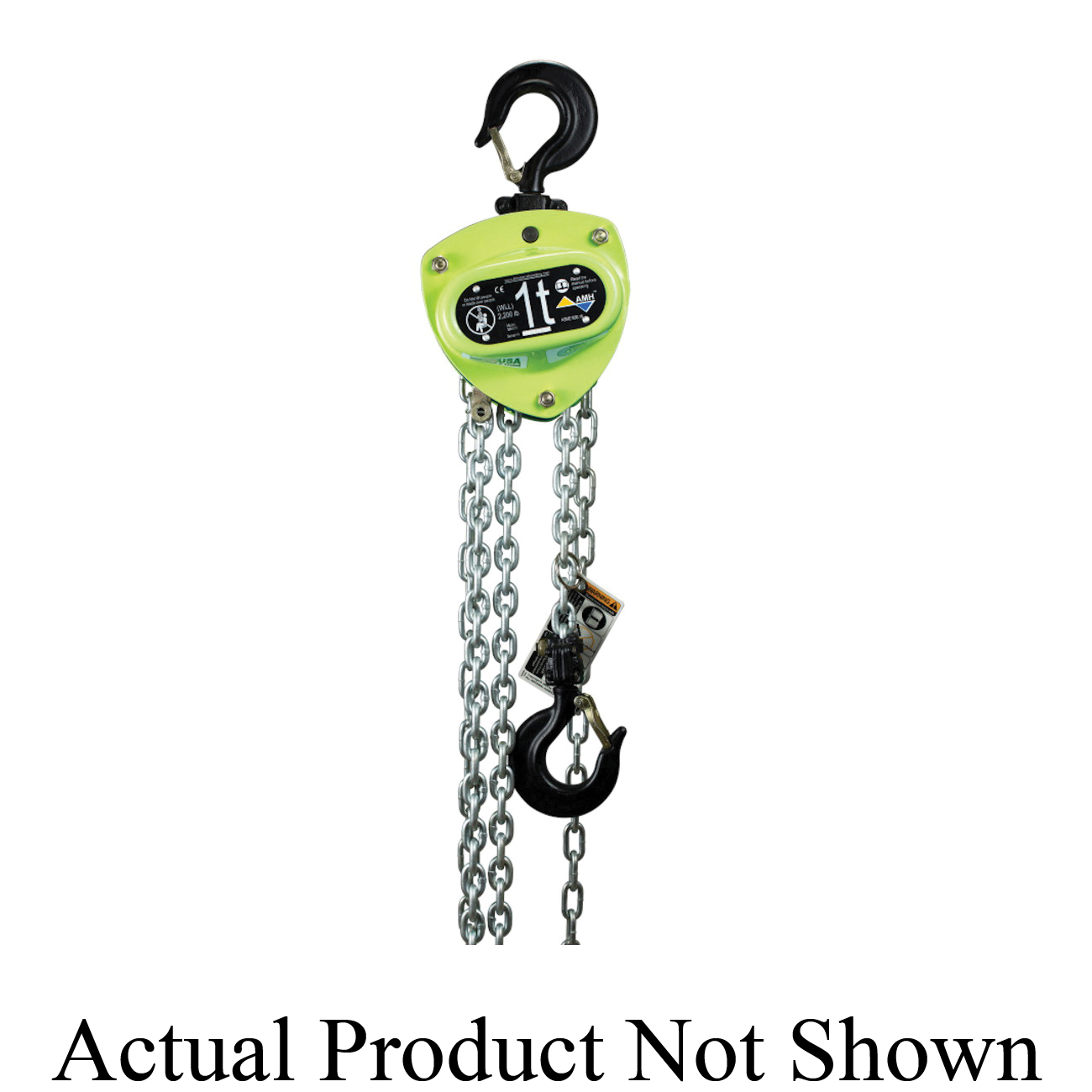 AMH™ MA200-20-18U Hand Chain Hoist With Sling Hook, 44000 lb Load, 20 ft H Lifting, 46.1 in Min Between Hooks, 3.19 in Hook Opening, 98x2 lb Rated