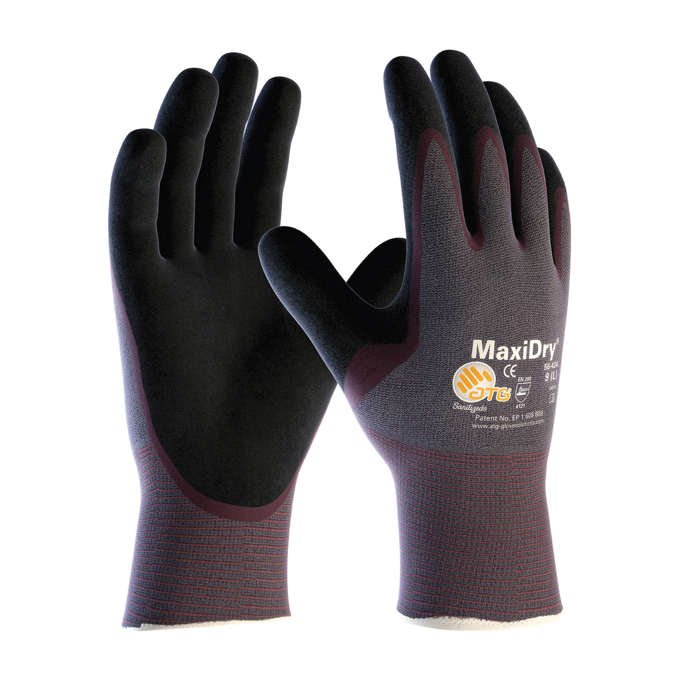 ATG® MaxiDry® 56-424/XXL High Performance General Purpose Gloves, Coated, 2XL, Nylon Palm, Nylon, Black/Purple, Continuous Knit Wrist Cuff, Nitrile Coating, Resists: Abrasion, Cut, Puncture and Tear, Nylon Lining, Seamless Knit