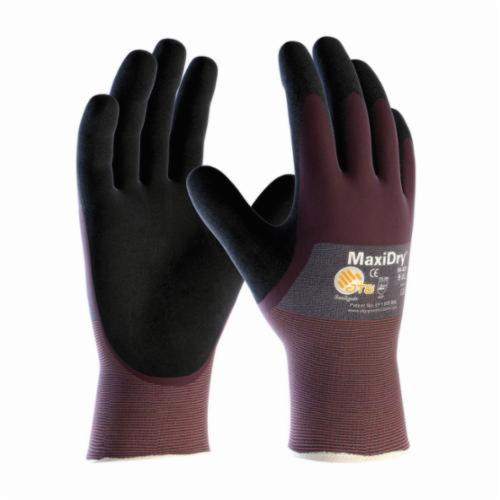 ATG® MaxiDry® 56-425 Ultra Lightweight General Purpose Gloves, Coated, Nylon/Lycra® Palm, Lycra®/Nylon, Black/Purple, Continuous Knit Wrist Cuff, Microfoam Nitrile Coating, Resists: Abrasion, Cut, Puncture and Tear, Nylon/Lycra® Lining, Seamless Knit