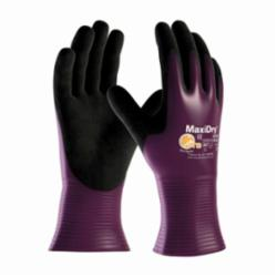 ATG® MaxiDry® 56-426 Ultra Lightweight General Purpose Gloves, Coated, Nylonycra® Palm, Lycra®/Nylon, Black/Purple, Knit Wrist Cuff, Microfoam Nitrile Coating, Resists: Abrasion, Chemical, Oil, Puncture, Tear and Snag, Nylonycra® Lining