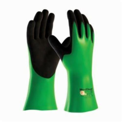 ATG® MaxiChem® 56-635 Chemical Resistant Gloves, Lycra®/Nitrile/Nylon, Black/Green, Nylonycra® Lining, 14 in L, Resists: Abrasion, Cut, Tear, Liquid and Puncture, Supported Support, Gauntlet Cuff