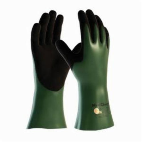 ATG® MaxiChem® Cut™ 56-633 Chemical Resistant Gloves, Engineered Yarn/Nitrile, Black/Green/White, White HPPE Lining, 12 in L, Resists: Abrasion, Cut, Puncture and Tear, Supported Support, Gauntlet Cuff