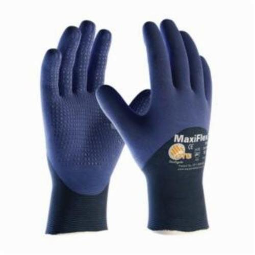 ATG® MaxiFlex® Elite™ 34-245 General Purpose Gloves, Coated/Work, Microfoam Nitrile Palm, 18 ga Nylon, Blue, Continuous Knit Wrist Cuff, Microfoam Nitrile Coating, Resists: Abrasion, Cut, Puncture and Tear, Nylon Lining, Seamless Knit