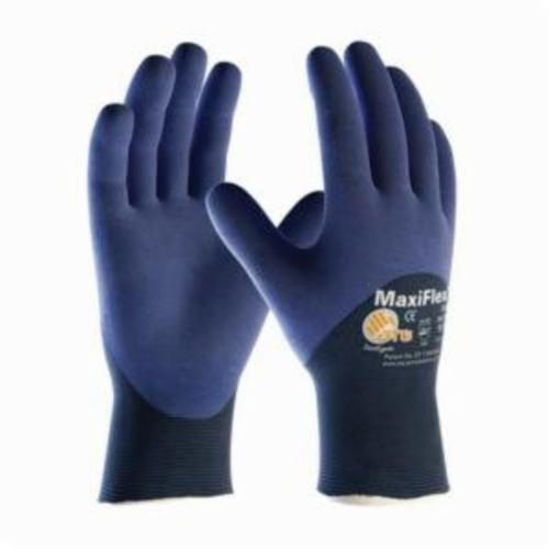 ATG® MaxiFlex® Elite™ 34-275 Ultra Lightweight General Purpose Gloves, Coated/Work, Microfoam Nitrile Palm, 18 ga Nylon, Blue, Continuous Knit Wrist Cuff, Microfoam Nitrile Coating, Resists: Abrasion, Cut, Puncture and Tear, Nylon Lining