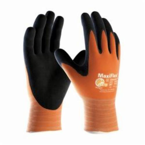 ATG® MaxiFlex® Ultimate™ 34-8014 High Visibility General Purpose Gloves, Coated, Microfoam Nitrile Palm, 15 ga Nylon, Black/Orange, Knit Wrist Cuff, Microfoam Nitrile Coating, Resists: Abrasion, Cut, Puncture and Tear, Nylon Lining, Seamless Knit