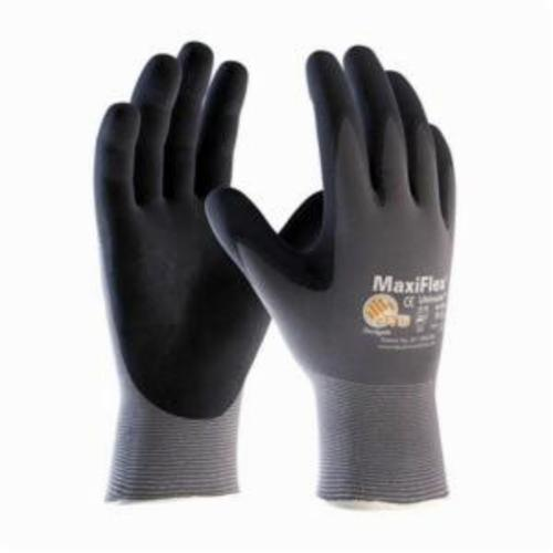 ATG® MaxiFlex® Ultimate™ 34-874T General Purpose Gloves, Coated, Microfoam Nitrile Palm, 15 ga Nylon, Black/Gray, Continuous Knit Wrist Cuff, Microfoam Nitrile Coating, Resists: Abrasion, Cut, Puncture and Tear, Nylonycra® Lining, Seamless Knit