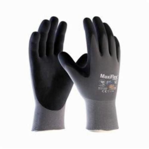 ATG® MaxiFlex® Ultimate™ 42-874 General Purpose Gloves, Coated, Microfoam Nitrile Palm, 15 ga Nylonycra®, Black/Gray, Continuous Knit Wrist Cuff, Microfoam Nitrile Coating, Resists: Abrasion, Cut, Puncture and Tear, Nylon Lining, Seamless Knit