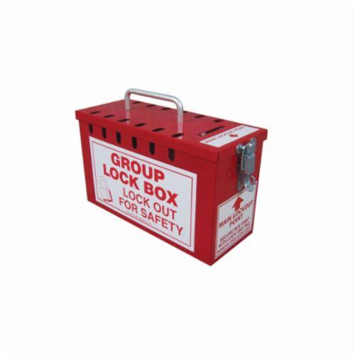Accuform® KCC617 Portable Lockout Box, 12 Padlocks, Red, 6 in H x 10 in W x 4-1/4 in D, 13 Key Hooks