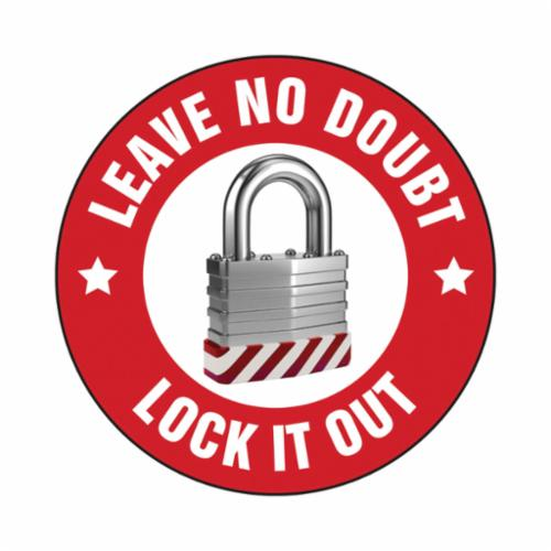 Accuform® LHTL128 Hard Hat Sticker, 2-1/4 in L x 2-1/4 in W, LEAVE NO DOUBT LOCK IT OUT, Adhesive Vinyl