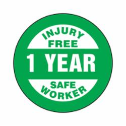 Accuform® LHTL361 Hard Hat Sticker, 2-1/4 in L x 2-1/4 in W, INJURY FREE SAFE WORKER - 1 YEAR, Adhesive Vinyl