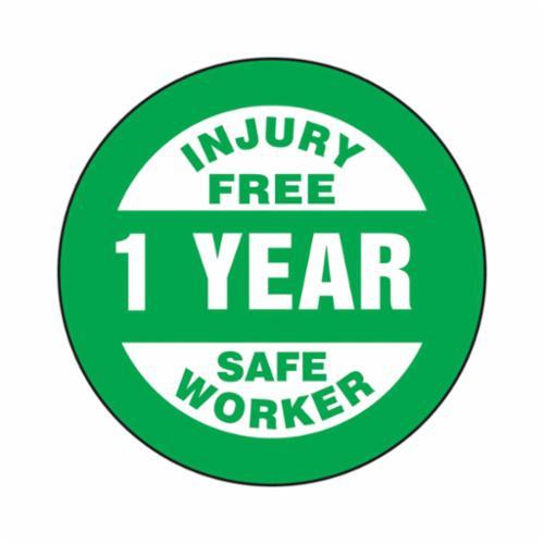 Accuform® LHTL361 Hard Hat Sticker, 2-1/4 in L x 2-1/4 in W, INJURY FREE SAFE WORKER - 1 YEAR, Adhesive Vinyl