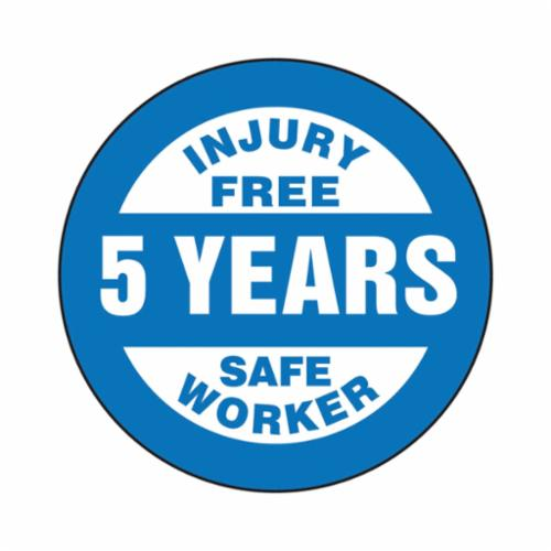 Accuform® LHTL363 Hard Hat Sticker, 2-1/4 in L x 2-1/4 in W, INJURY FREE SAFE WORKER - 5 YEARS, Adhesive Vinyl