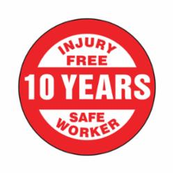 Accuform® LHTL365 Hard Hat Sticker, 2-1/4 in L x 2-1/4 in W, INJURY FREE SAFE WORKER - 10 YEARS, Adhesive Vinyl
