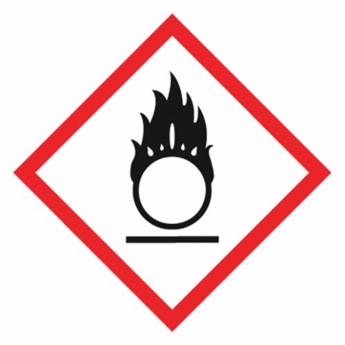 Accuform® LZH612EV5 Diamond Shape Self-Adhesive GHS Pictogram Label, 2 in L x 2 in W, (Flame Over Circle), Black/Red/White, Adhesive Polyester