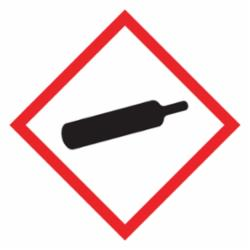 Accuform® LZH605EV5 Diamond Self-Adhesive GHS Pictogram Label, 1 in L x 1 in W, (Gas Cylinder) Legend, Black/Red/White, Adhesive Polyester, 500 per Roll Labels