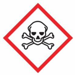 Accuform® LZH606EV5 Diamond Self-Adhesive GHS Pictogram Label, 1 in L x 1 in W, (Skull & Crossbones) Legend, Black/Red/White, Adhesive Polyester, 500 per Roll Labels