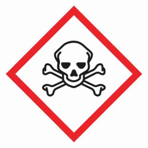 Accuform® LZH616EV5 Diamond Self-Adhesive GHS Pictogram Label, 2 in L x 2 in W, (Skull & Crossbones) Legend, Black/Red/White, Adhesive Polyester, 500 per Roll Labels