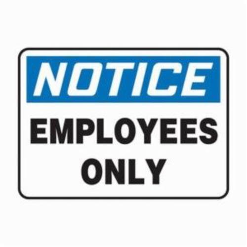 Accuform® MADC804VP Notice Sign, NOTICE, 10 in H x 14 in W, Black on white Sign/White on Blue Header, 0.055 in Plastic, Hole Mounting