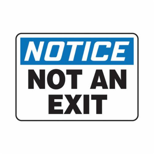 Accuform® MADM832VP Notice Sign, NOTICE, 10 in H x 14 in W, Black on white Sign/White on Blue Header, 0.055 in Plastic, Hole Mounting