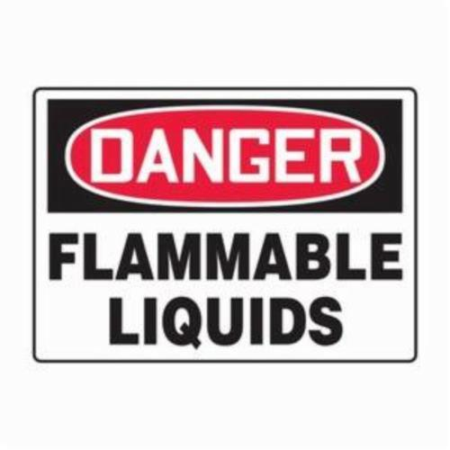 Accuform® MCHG102VP Safety Sign, DANGER, Text, FLAMMABLE LIQUIDS, 0.055 in Plastic, 10 in H x 14 in W, English