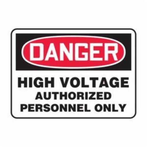 Accuform® MELC138VA Danger Sign, DANGER, 10 in H x 14 in W, Red/Black on White, Aluminum, Wall Mount