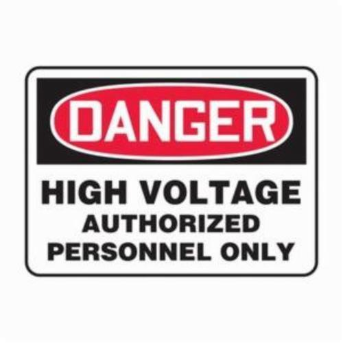 Accuform® MELC138VA Danger Sign, DANGER, 10 in H x 14 in W, Red/Black on White, Aluminum, Wall Mount