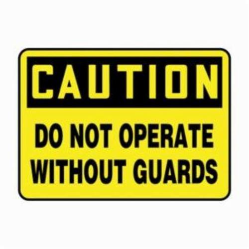 Accuform® MEQC720VP Caution Sign, CAUTION, 7 in H x 10 in W, Black on Yellow, 0.055 in Plastic, Wall Mounting