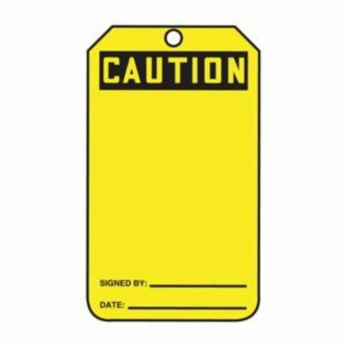 Accuform® MGT200CTP Safety Tag, 5-3/4 in H x 3-1/4 in W, Black/Yellow, 3/8 in Hole, Cardstock