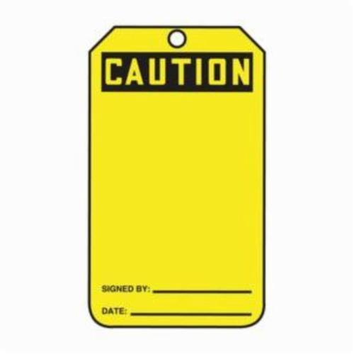Accuform® MGT200CTP Safety Tag, 5-3/4 in H x 3-1/4 in W, Black/Yellow, 3/8 in Hole, PF-Cardstock