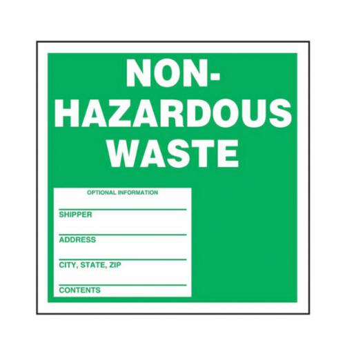 Accuform® MHZW11PSP Safety Label, 6 in L x 6 in W, Non-Hazardous Waste Legend, Green/White, Adhesive Coated Paper, 25 per Pack Labels