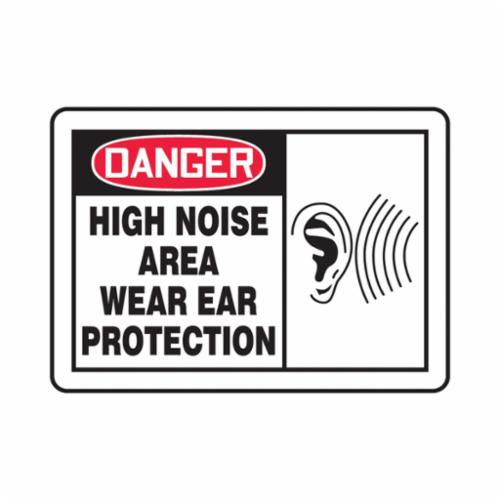 Accuform® MPPE034VS Danger Sign, DANGER, 7 in H x 10 in W, Red/Black on white, 4 mil Adhesive Vinyl, Surface Mounting