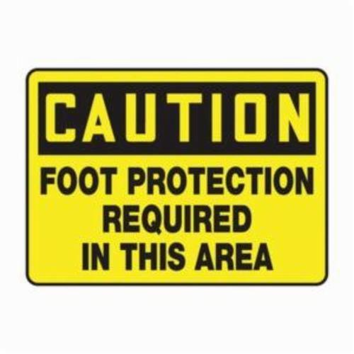 Accuform® MPPE553VA Caution Sign, CAUTION, 10 in H x 14 in W, Black on Yellow, 0.04 in Aluminum, Wall Mounting