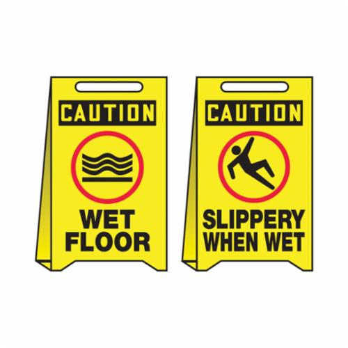 Accuform® PFE405 Fold-Ups® Reversible Floor Sign, 20 in H x 12 in W, Corrugated Plastic