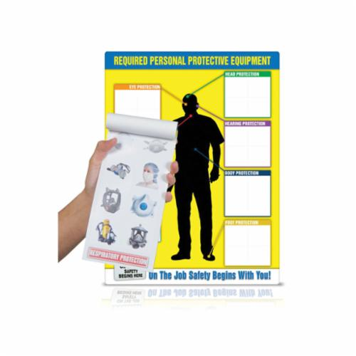 Accuform® PPE248 PPE-ID™ Safety Poster, Text, REQUIRED PERSONAL PROTECTIVE EQUIPMENT-On The Job Safety Begind With You!, Plastic Chart/Vinyl Adhesive Label, 24 in Chart/2 in Label H x 18 in Chart/2 in Label in W, English