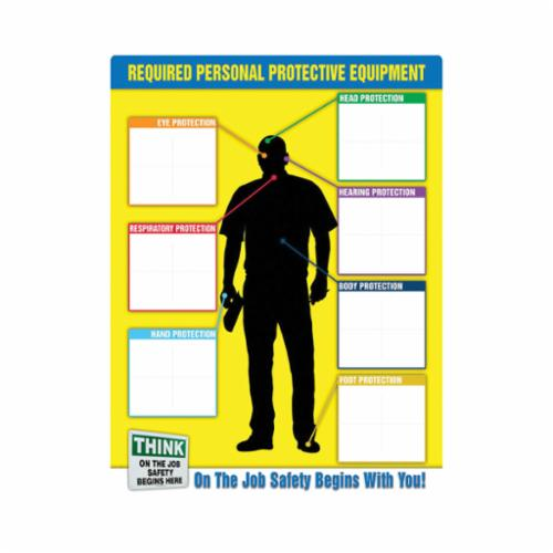Accuform® PPE357 PPE-ID™ Safety Poster, Text, REQUIRED PERSONAL PROTECTIVE EQUIPMENT-On The Job Safety Begind With You!, Plastic, 24 in H x 18 in W, English