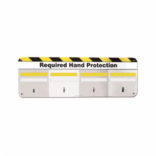 Accuform® The Glove Board™ PPL404 5S/Lean Hand Protection Board Kit, Symbol, REQUIRED HAND PROTECTION, Galvanized Steel, Surface/Wall Mounting, 12 in Board/1 in Strip H x 36 in Board/8 in Strip in W, Black/White/Yellow, English