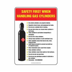 Accuform® PST318 Laminated Safety Poster, Text/Symbol, SAFETY FIRST WHEN HANDLING GAS CYLINDERS, Plastic, 24 in H x 18 in W, English