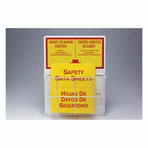 Accuform® SBZRS326 Bilingual RTK Center Board Kit, RIGHT TO KNOW CENTER SAFETY DATA SHEETS HAZARDOUS MATERIALS/CENTRO DERECHO DE SABER HOJAS DE DATOS DE SEGURIDAD MATERIALES PELIGROSOS Legend, English/Spanish, Yellow, 20 in H x 15 in W, Aluminum