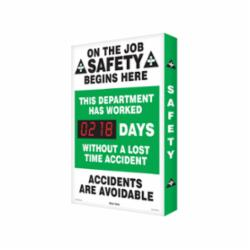 Accuform® SCA218 Electronic Safety Scoreboard, Text, ON THE JOB SAFETY BEGINS HERE THIS DEPARTMENT HAS WORKED ___ DAYS WITHOUT A LOST TIME ACCIDENT ACCIDENTS ARE AVOIDABLE, Aluminum, 28 in H x 20 in W, English