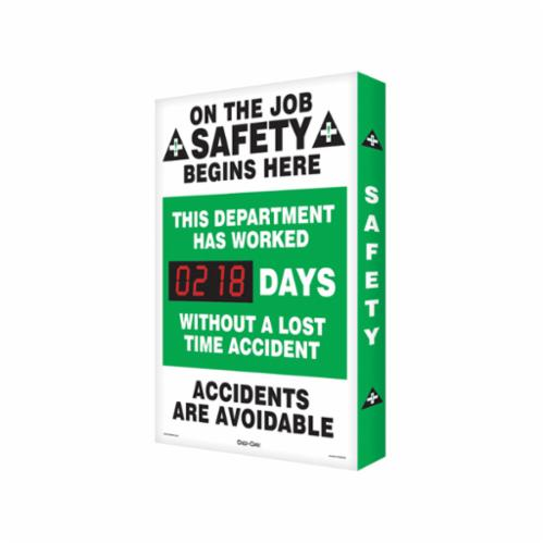 Accuform® SCA218 Electronic Safety Scoreboard, Text, Aluminum, 28 in H x 20 in W, English
