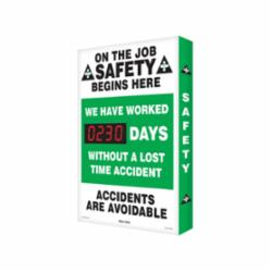 Accuform® SCA230 Electronic Safety Scoreboard, Text, ON THE JOB SAFETY BEGINS HERE WE HAVE WORKED ___ DAYS WITHOUT A LOST TIME ACCIDENT ACCIDENTS ARE AVOIDABLE, Aluminum, 28 in H x 20 in W, English