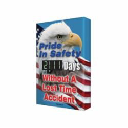 Accuform® SCG111 Electronic Safety Scoreboard, Text, PRIDE IN SAFETY _____ DAYS WITHOUT A LOST TIME ACCIDENT, Aluminum, 28 in H x 20 in W, English