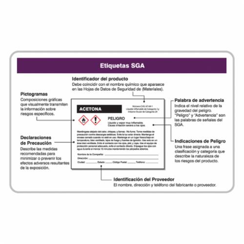 Accuform® SHLKC241 Double Sided GHS Wallet Card, Spanish, Globally Harmonized System, 3-3/8 in L x 2-1/8 in W