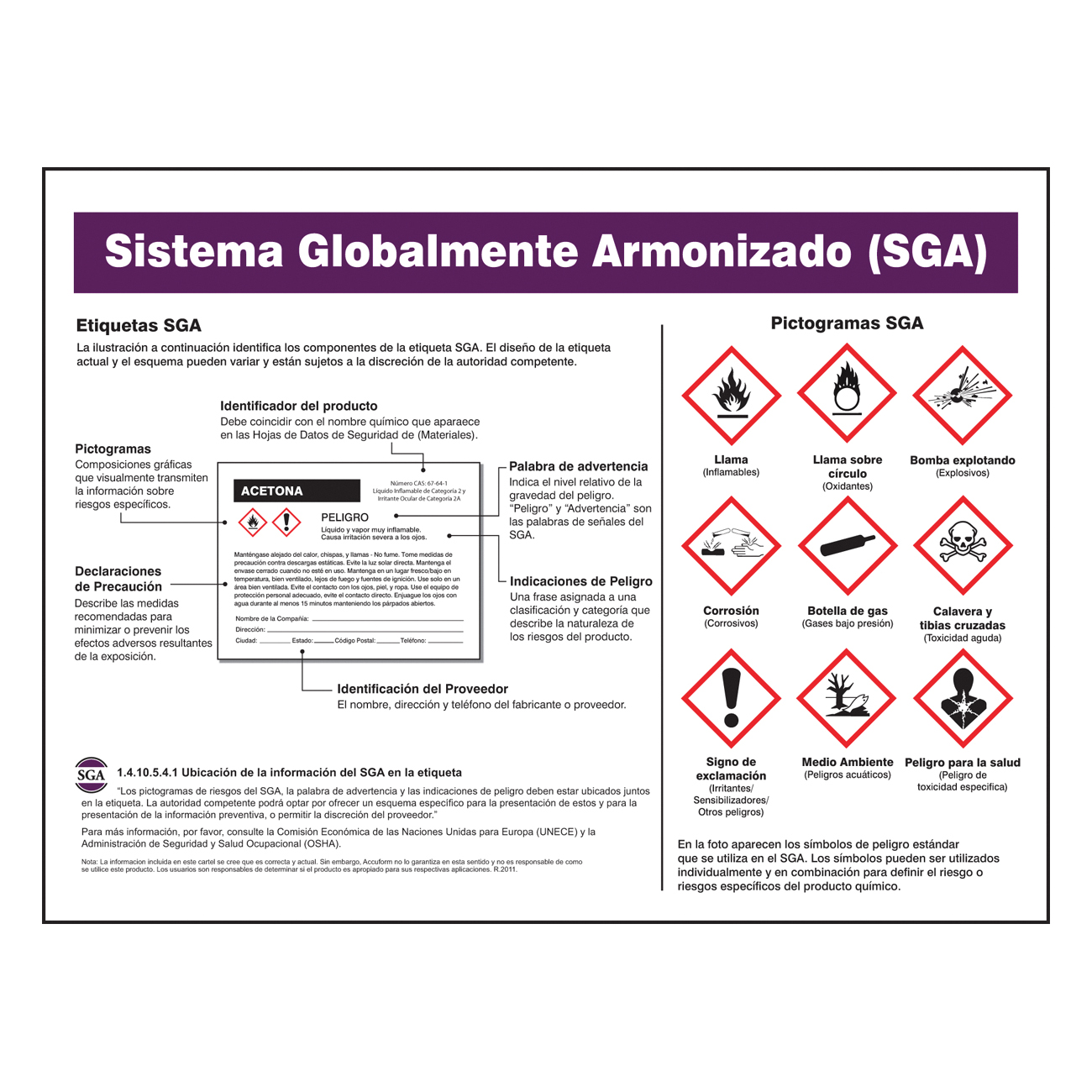 Accuform® SHZTP139 Laminated Right-to-Know GHS Poster, Globally Harmonized System (GHS) Poster, Plastic, Wall Mounting, 18 in H x 24 in W, Spanish