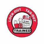 Accuform® LHTL344 Hard Hat Sticker, 2-1/4 in L x 2-1/4 in W, LOCK OUT TAG-OUT TRAINED, Black/Red/White, Vinyl